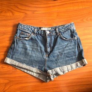 Topshop Moto Petite Girlfriend Denim Shorts